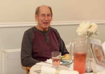 One of our gentleman about to enjoy lunch in the Dining Room at Lukestone Care Home.