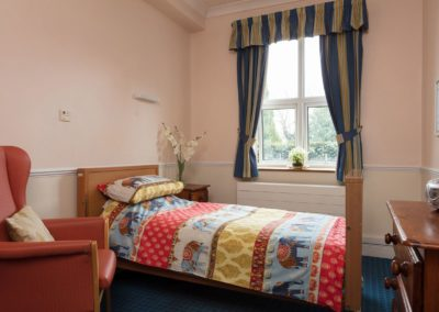 A typical bedroom at Lukestone Care Home.