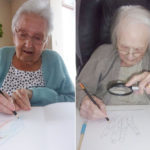 Two lady residents at Loose Valley Care Home drawing pictures in an art class