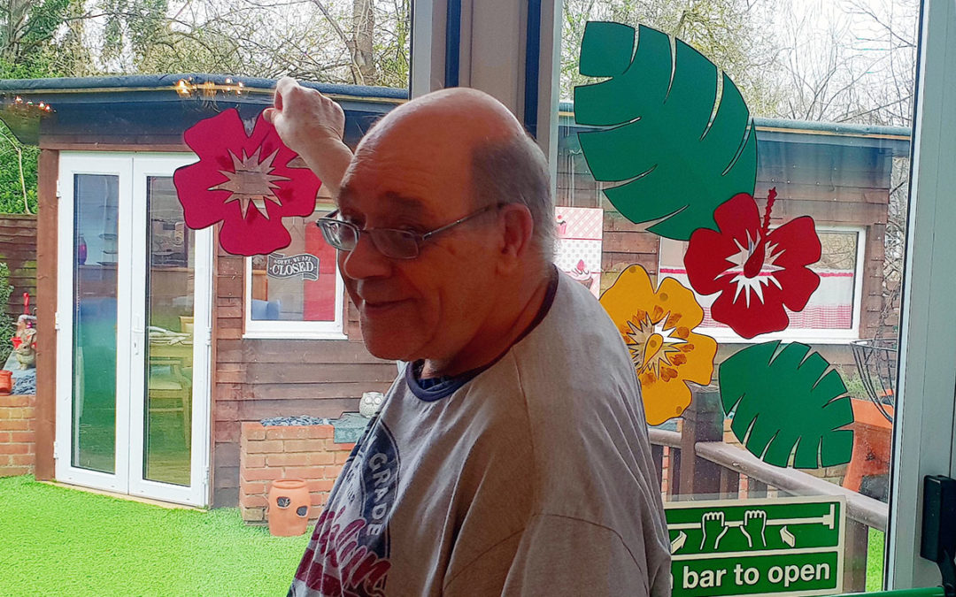 Making party decorations at Lukestone Care Home