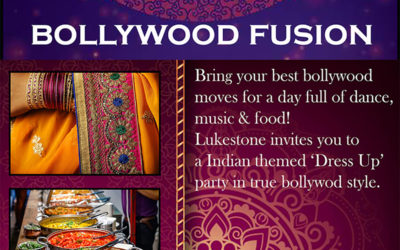 Poster promoting Lukestone's Bollywood themed party