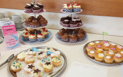 Display of cupcakes on stands at Hengist Field Care Home