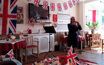 Entertainer Hayley performs songs for D-Day at Meyer House Care Home