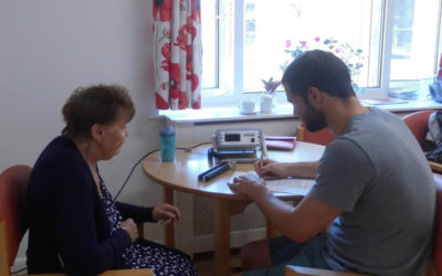 Ian Farr, PhD student from the University of Kent collecting data with a resident