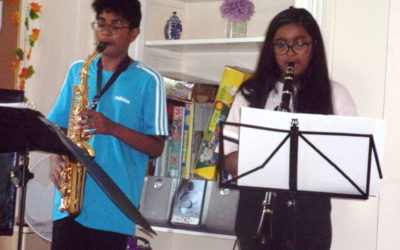 Kamren and Lavinina Mendis performing at Loose Valley Care Home