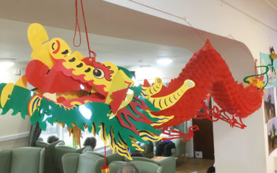 A Chinese Dragon paper decoration hanging from the ceiling
