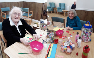 Valentine card making at Sonya Lodge Residential Care Home